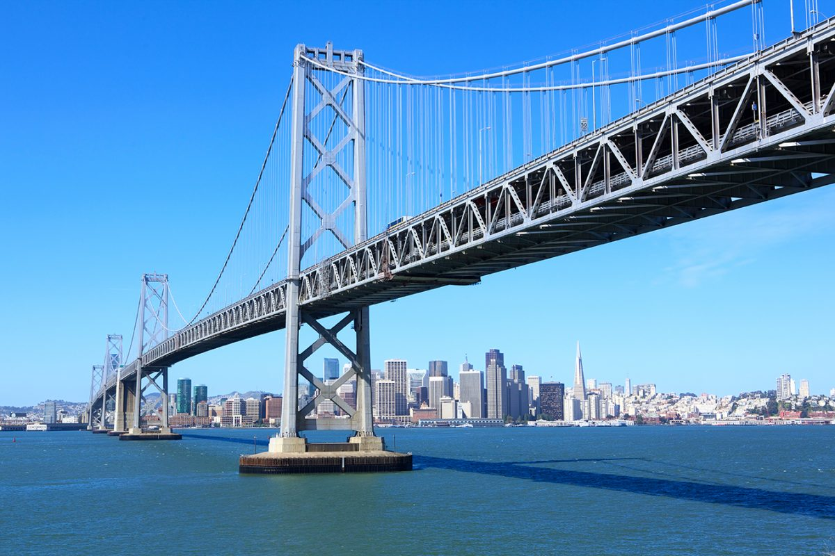 San Francisco downtown under Bay Bridge, USA